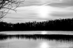 Beautiful lake and forest during sunset in monochrome royalty free stock photography