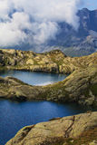 Beautiful lake in the French Alps Stock Images