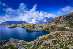 Beautiful lake in the French Alps Royalty Free Stock Images
