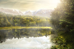 Beautiful Lake. In front of a mountain landscape Royalty Free Stock Images