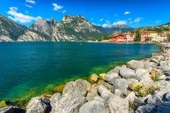 The beautiful Lake Garda and Torbole town Royalty Free Stock Photos