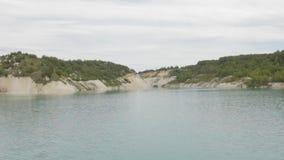 Beautiful lake with green, blue, water. Lake stock footage