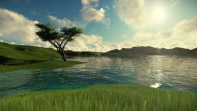 Beautiful lake and green meadow surrounded by mountains, travelling shot stock video