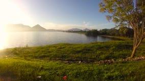 Beautiful lake and greenery around stock footage