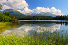 Beautiful Lake in High Tatras - Strbske pleso Royalty Free Stock Photo