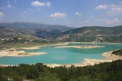 Beautiful lake in highlands. Blue lake in highlands. European summer Stock Photos
