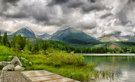 Beautiful lake with hotel Patria in High Tatra, Slovakia Stock Photo