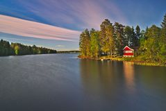 Beautiful Lake House before Sunset royalty free stock photo