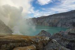 Beautiful lake inside Kawah Ijen volcano mountain, East Java, In Stock Images