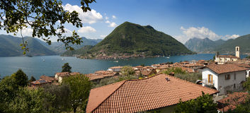 The beautiful lake of Iseo, North Italy, near Brescia and Bergam Royalty Free Stock Images