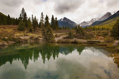 Beautiful lake in Jonston canyon. Most beautiful landscapes in Banff National Park, Alberta, Canada Royalty Free Stock Photo