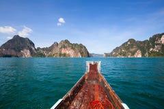 Beautiful lake at Khao Sok National Park. Thailand. View sitting in a boat travel in lake at Khao Sok National Park, Surat Thani, Thailand Stock Image