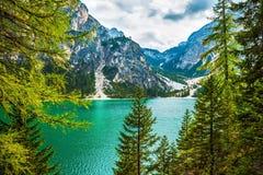 Beautiful lake Lago di Braies Stock Images