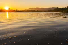 Beautiful lake landscape with sunset Royalty Free Stock Photography