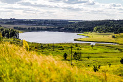 Beautiful lake landscape in ukrainian countryside. Summer backgr Royalty Free Stock Photos
