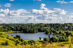 Beautiful lake landscape in ukrainian countryside. Summer backgr Royalty Free Stock Photography