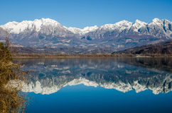 Beautiful lake landscape. Beautiful view of a lake with snow capped mountains reflected in the water Royalty Free Stock Photography