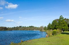 Beautiful lake and landscaped park with lawn and trees Royalty Free Stock Image