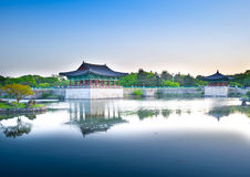 Beautiful lake and landscaped park Royalty Free Stock Image