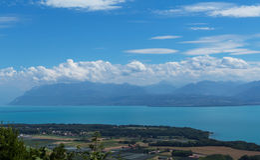 Beautiful lake Leman. View on beautiful blue lake Leman and fantastic sky scape. Canton Vaud, Switzerland Royalty Free Stock Image