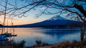 Beautiful Lake Mount Fuji View Scenery. With A Vivid Blue Sky Background stock photos