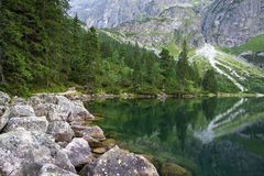 Beautiful lake and mountain view, tatry poland. Morskie Oko royalty free stock photography