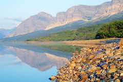 Beautiful lake and mountains in Glacier National Park. Royalty Free Stock Images