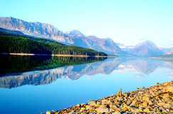 Beautiful lake and mountains in Glacier National Park. Royalty Free Stock Photo