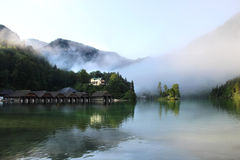 Beautiful lake, mountains and nature in the morning Royalty Free Stock Photos