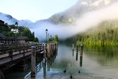Beautiful lake, mountains and nature in the morning Royalty Free Stock Images
