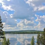 A beautiful lake in Norrbotten Royalty Free Stock Images