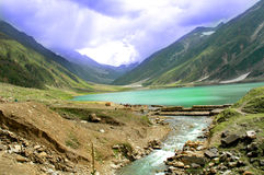 Beautiful lake in Pakistan. Beautiful landscape of lake in midst of mountains in Pakistan stock photography