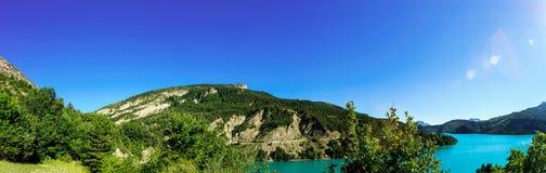 Beautiful lake panoramic view, Alps Stock Photo