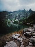 Morskie Oko Lake in Tatra Mountains in Poland. Beautiful lake between the peaks of the Tatra Mountains stock image