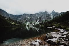 Morskie Oko Lake in Tatra Mountains in Poland. Beautiful lake between the peaks of the Tatra Mountains royalty free stock photo