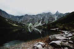 Morskie Oko Lake in Tatra Mountains in Poland. Beautiful lake between the peaks of the Tatra Mountains Royalty Free Stock Photo