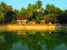 Beautiful lake. This is photo of Pushkarni lake at rameshwar temple,maharashtra,in India stock photo