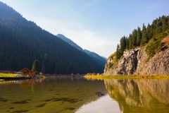 Lake, reflection, mountain, forest stock image