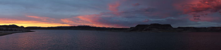 Beautiful Lake Powell Sunset and Storm Panorama Stock Photo