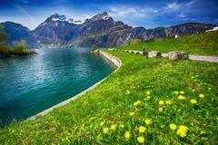 Beautiful lake promenade on lake Lucerne in Sisikon Stock Photos