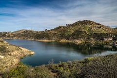 Beautiful Lake Ramona. Surrounded by mountains in an elevated location seen from the Green Valley Truck Trail, Blue Sky Ecological Reserve, Poway, California stock image