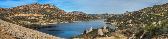 Beautiful Lake Ramona Panorama. Beautiful Lake Ramona surrounded by mountains in an elevated location seen from the Green Valley Truck Trail, Blue Sky Ecological stock images