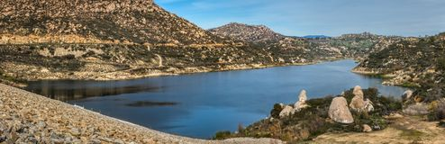 Beautiful Lake Ramona Panorama. Beautiful Lake Ramona surrounded by mountains in an elevated location seen from the Green Valley Truck Trail, Blue Sky Ecological royalty free stock photography