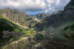 Beautiful lake reflecting surrounding mountains Stock Photography