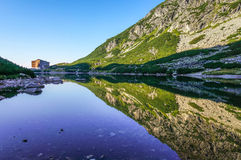 Beautiful lake reflection - panoramic view, National Park High Tatra (Vysoke Tatry), Slovakia Royalty Free Stock Photography
