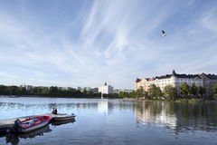 Beautiful lake scene in Helsinki. Summer, Finland Royalty Free Stock Photography
