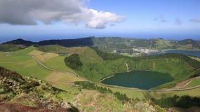 Beautiful lake of Sete Cidades, Azores, Portugal Europe stock footage