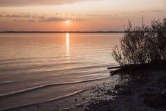 Lake shore of chiemsee at sunset Royalty Free Stock Photos