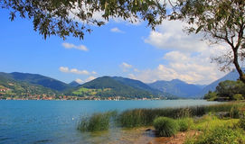 Beautiful lake shore tegernsee and view to the alps Royalty Free Stock Image