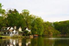 3 beautiful lake side houses royalty free stock photo